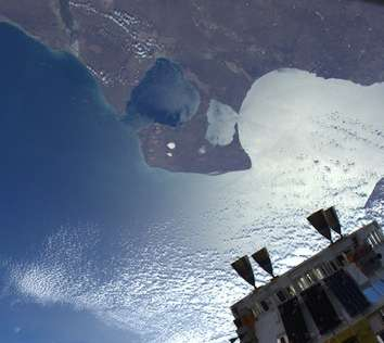 HTV on ISS backdrop East coast of Argentina